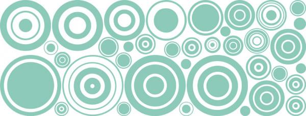 Wandtattoo Retro Set Retro-Kreis-Design für Ihr Wohnzimmer