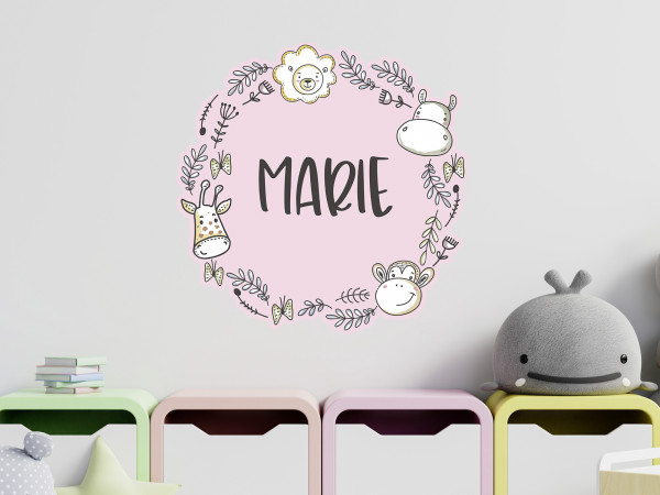Wandtattoo mit Namen personalisiert Tiere in Rosa