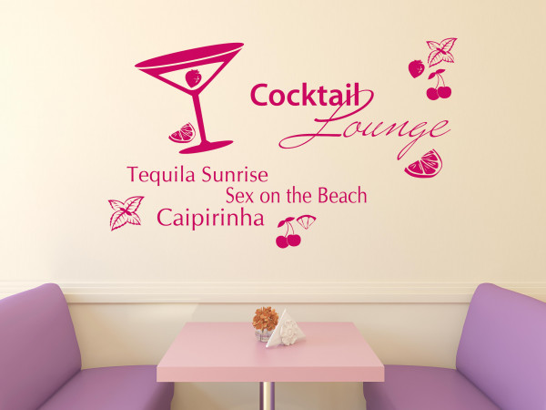Wandtattoo Set Küche Cocktail Lounge mit Glas und Früchten