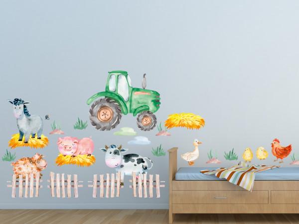 Wandtattoo Bauernhof Kinderzimmer Traktor und Bauernhofstiere