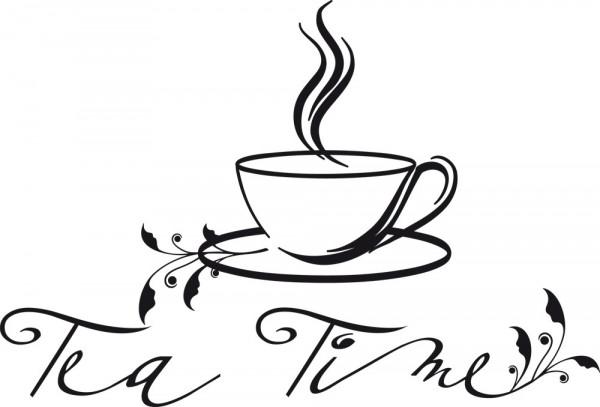 Wandtattoo für Küche Fliesentattoo Spruch Tea Time mit Blumenranke und Teetasse