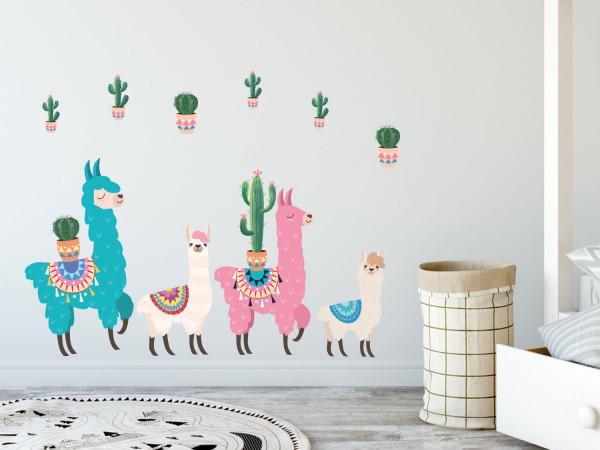 Wandtattoo Set bunte Lamas Kakteen