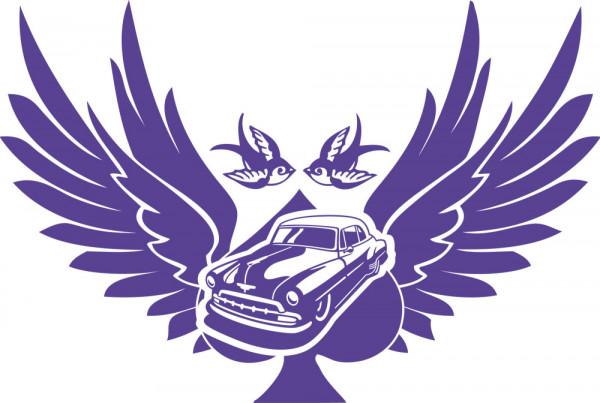 Wandtattoo Musik Rockabilly Oldtimer Auto mit Flügel Schwalben Pik