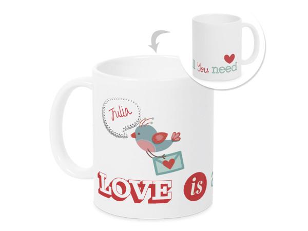 Ich liebe Dich Tasse mit Namen, personalisiertes Valentinstag Geschenk für sie