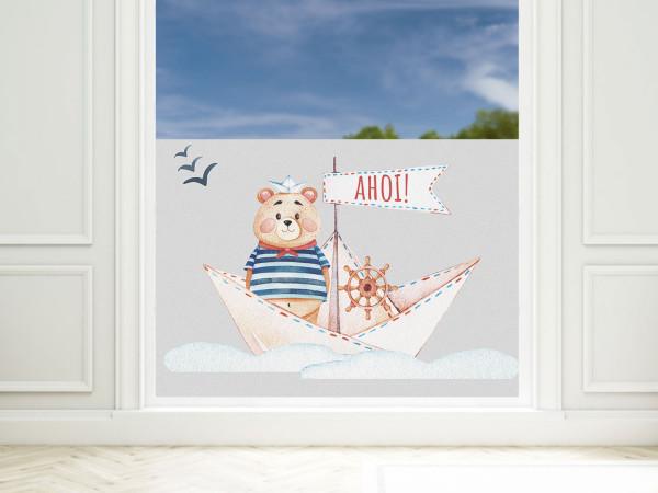 Sichtschutzfolie Kinderzimmer maritim Matrose, Fensterfolie