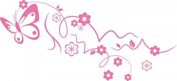 Wandtattoo Schmetterling mit Blumen