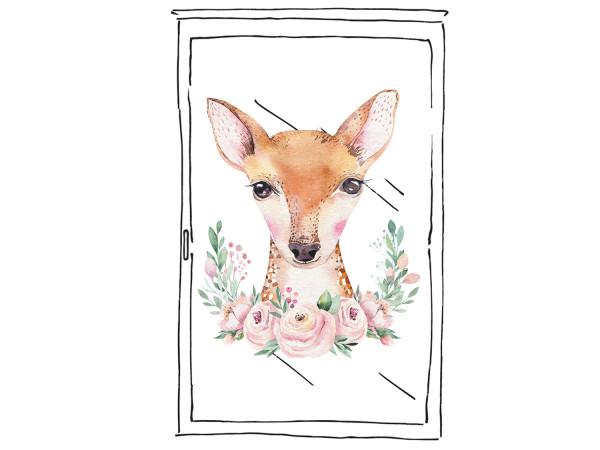 Fensterfolie Reh mit Blumen