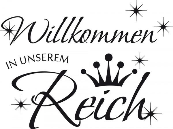 Wandtattoo Wandaufkleber Wand Deko Flur Willkommen in unserem Reich Krone