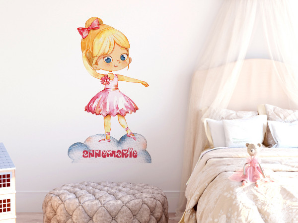 Wandtattoo Ballerina personalisiert mit Namen für Mädchen