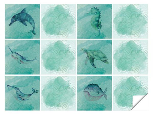 Fliesenaufkleber Bad Fische mit Grünen Linien
