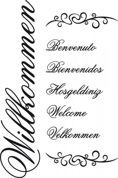 Wandtattoo Willkommen auf sechs Sprachen