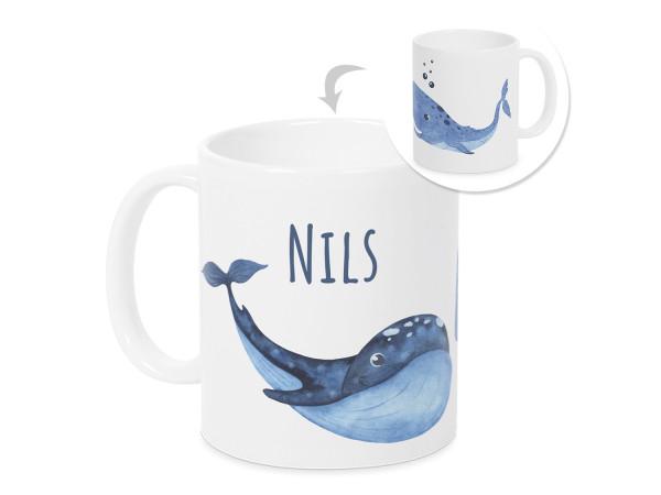 Tasse mit Namen Kinder, personalisiertes Geschenk Weihnachten Geburtstag, als Geschenkidee, Becher, Blaue Wal