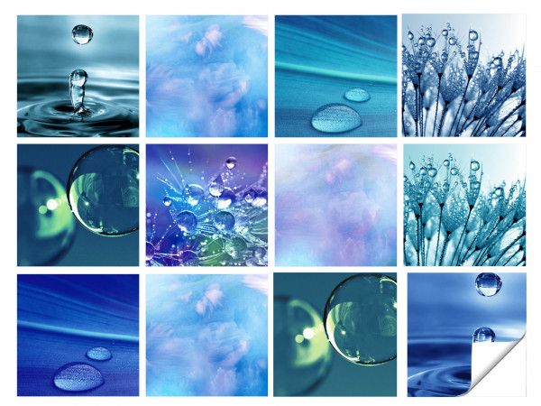 Fliesenaufkleber Bad Wasser in Blau - 12 Stück
