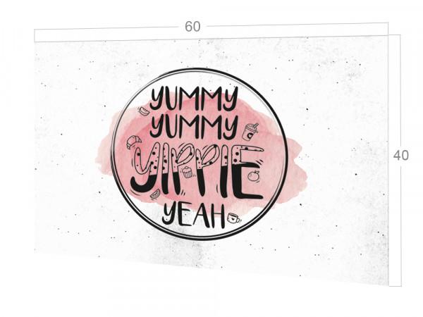 Spritzschutz Küche Yummy, Yummy Weiß, rosa