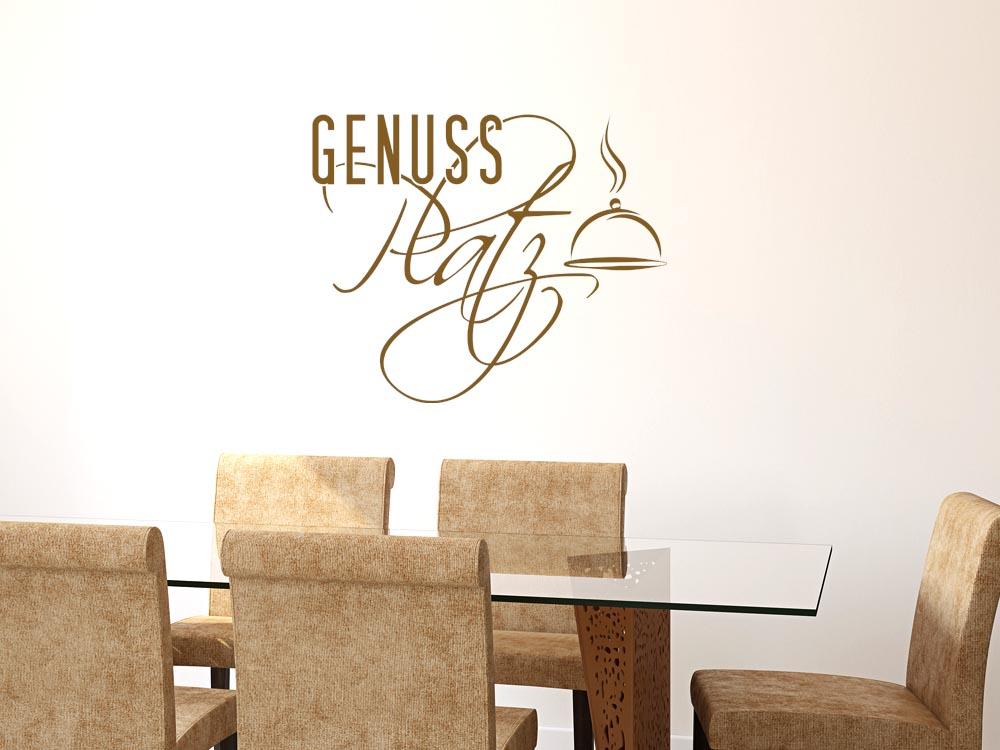 wandtattoo f r k che spruch genuss platz servierglocke k chenspr che k che wandtattoo. Black Bedroom Furniture Sets. Home Design Ideas