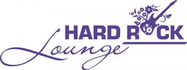 Wandtattoo Musik Schriftzug Hard Rock Lounge mit Gitarre