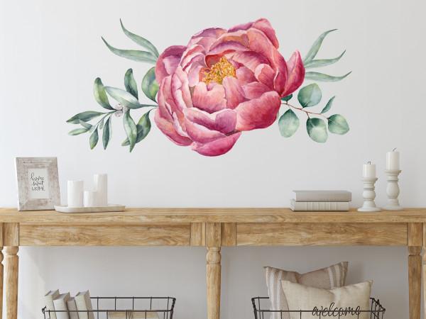 Wandtattoo Pfingstrose Blumen rot - rosa, Wohnzimmer Schlafzimmer Wanddeko