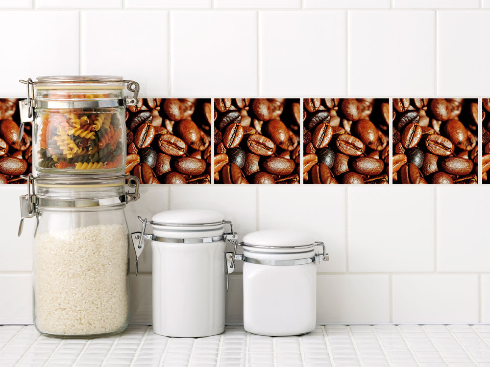 fliesen zum aufkleben set kaffeebohnen kaffee k che fliesenaufkleber sets fliesenaufkleber. Black Bedroom Furniture Sets. Home Design Ideas