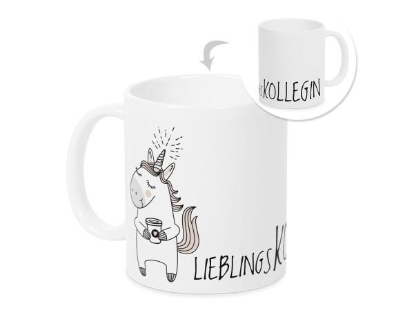 Kaffeebecher Lieblingskollegin mit Einhorn