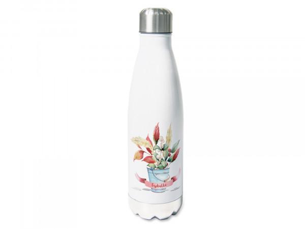Thermosflasche mit Namen personalisiert, 500ml Trinkflasche, Blumenvase