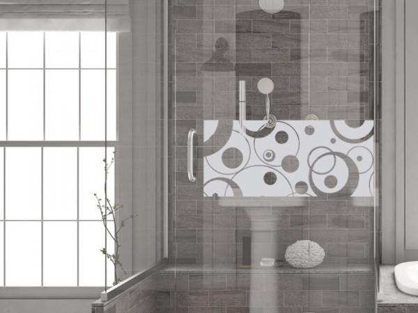 Fensterfolie Bad für Dusche in Retro Kreisen