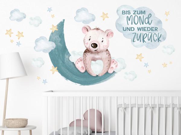 Wandtattoo Kinderzimmer, Bär mit Mond, Sternen und Spruch