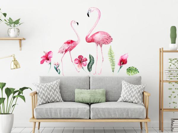 Wandtattoo Set rosa Flamingos für Wohnzimmer oder Bad