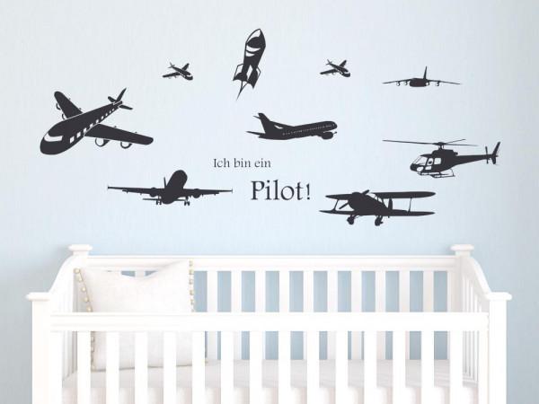Wandtattoo Kinderzimmer Set Pilot Flugzeuge Hubschrauber