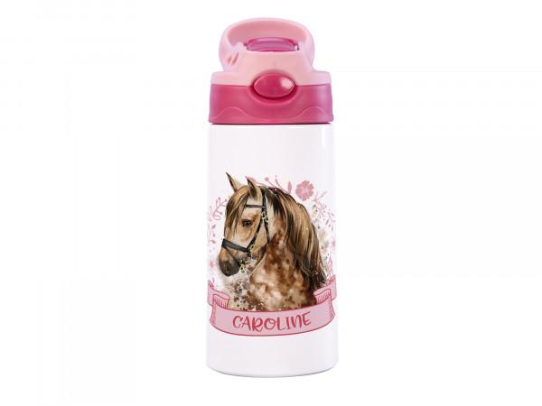 Thermosflasche für Mädchen mit Name - Pferd