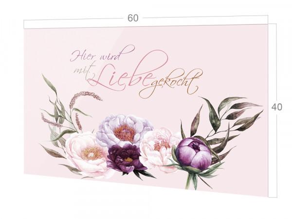 Spritzschutz Spruch Hier wird mit Liebe gekocht mit Blumen
