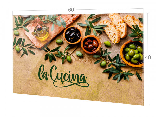 Spritzschutz Küche Glas Spruch La Cucina mit Oliven, braun
