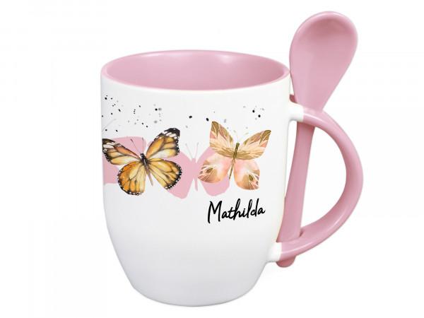 Tasse mit Löffel personalisiert mit Namen und Schmetterlinge