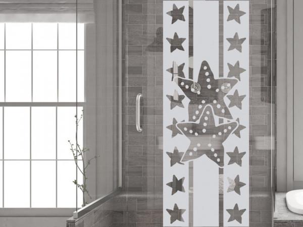 Fensterfolie Duschkabine für Badezimmer Seesterne Sterne