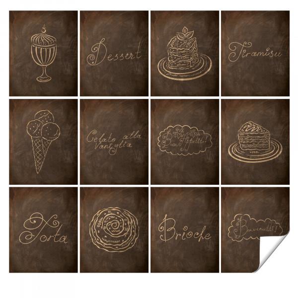 Fliesenaufkleber Küche in Braun, Steinoptik, Dessert Motive - 12 Stück