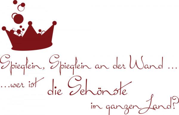 Wandtattoo Badezimmer Spieglein Spieglein an der Wand Spruch mit Krone