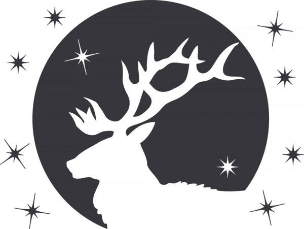 Wandtattoo Hirsch mit Geweih und Sternen
