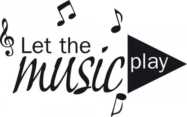 Wandtattoo Musik Schriftzug Let the music play mit Noten und Play