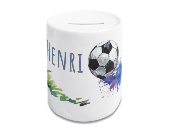 Spardose Fußball mit Name, Kinder Jungen, personalisiertes Geschenk Geburtstag, Weihnachten, Taufe