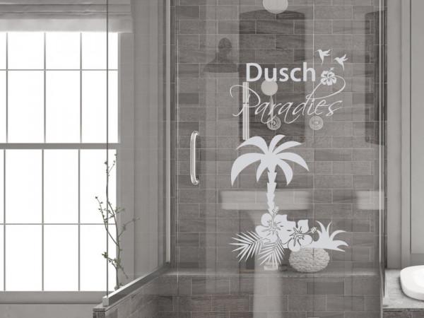 Fensterfolie Duschkabine für Badezimmer Palme Blumen Spruch
