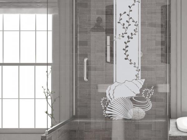 Fenstertattoo für Badezimmer mit Algen und Muscheln