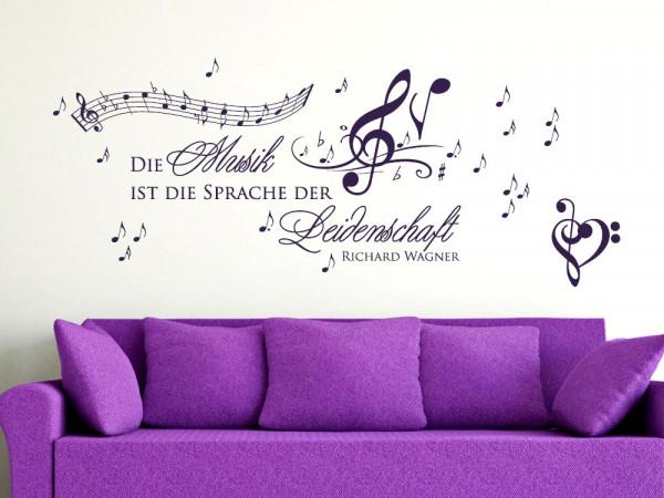 Wandtattoo Aufkleber Tattoo Set für Wohnzimmer Musik ist die Sprache Spruch