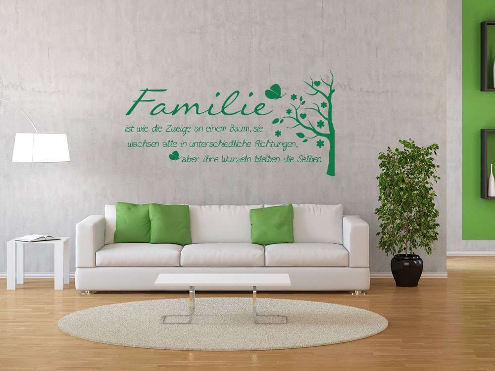 Wandtattoo Familie für Wohnzimmer Spruch Familie Zweig Baum 010 weiss  59x30cm