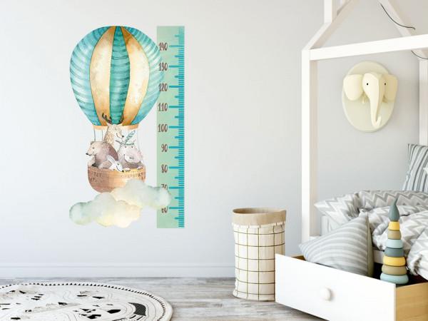 Messlatte Kind, Heißluftballons Türkis, Wachstum Aufkleber