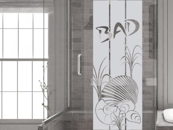 Fensterfolie für Badezimmer Spruch Muscheln maritim