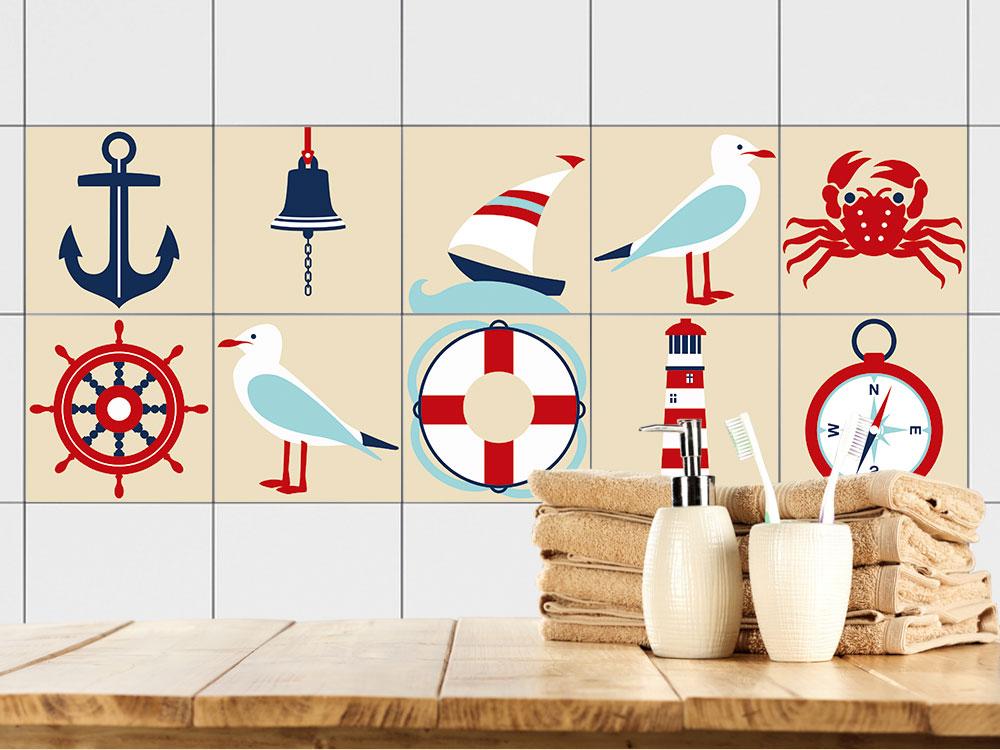 fliesen zum aufkleben set m we schiff glocke krabbe bad. Black Bedroom Furniture Sets. Home Design Ideas
