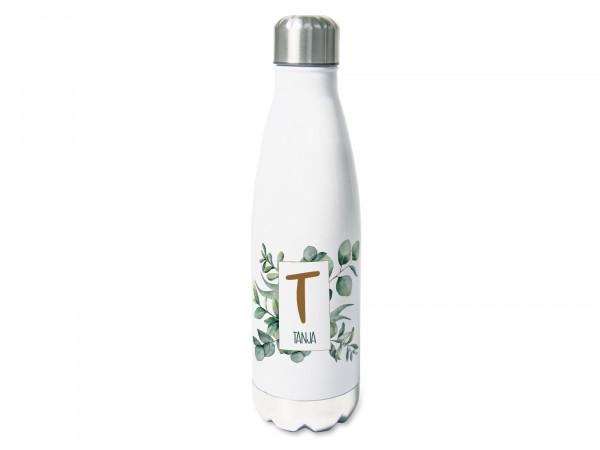 Thermosflasche mit Namen, Eukalyptus mit Buchstaben