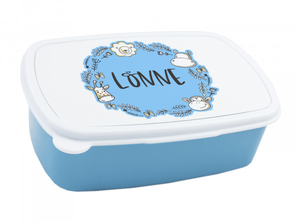 Brotdose Wilde Tiere, personalisiert mit Namen in Blau