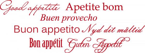 Wandtattoo Schlagworte Guten Appetit, Good appetite, Apetite bom