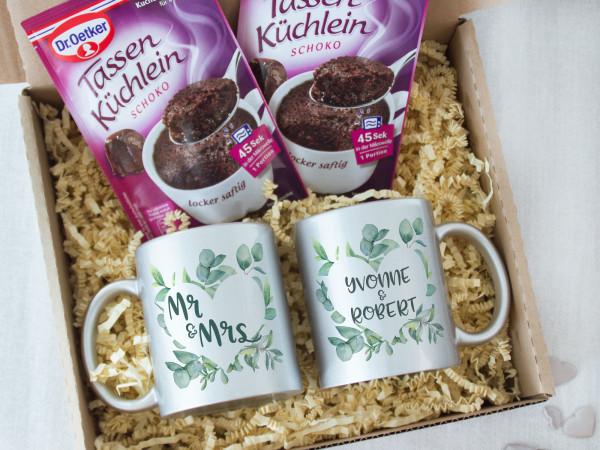 Geschenk Set Hochzeit mit Tassen und Tassenkuchen