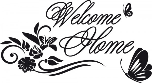 Wandtattoo Welcome Home verziert mit Blumen und Schmetterlingen